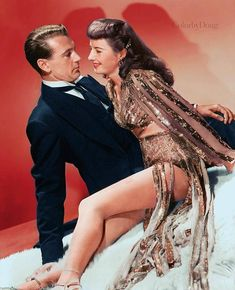 Barbara Stanwyck with Gary Cooper in Ball of Fire.