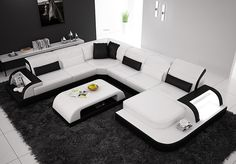 Waves Contemporary Leather Sectional by Scene Furniture - SKU No. 02182 from Opulent Items IHSO02182