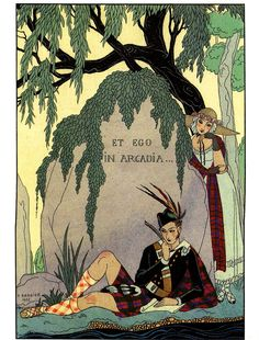One of my favorite illustrations by George Barbier. L'amant poéte is from the 1925 Falbalas et Fanfreluches (Ruffles & Frills) publication. I love the whimsical depiction of 1920s high society.