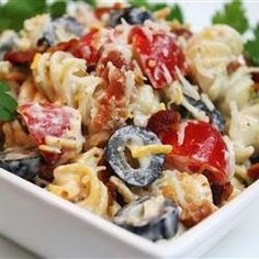 Bacon Ranch Pasta Salad  #bbq #pastasalad