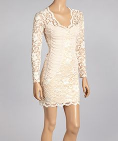 Champagne Lace Ruched Long-Sleeve Dress by Sentimental NY #zulily #zulilyfinds