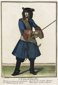 """French Fashion plate """"Recueil des modes de la cour de France, 'Habit de Cavalier'"""" at the Los Angeles County Museum of Art, Los Angeles he is wearing a justacorps and breeches and he was also wearing cavalier boots 17th Century Fashion, 18th Century, Mademoiselle De Maupin, Christian Marclay, Whitney Museum, Saint Jean, Historical Images, Fashion Design Sketches, Museum Exhibition"""