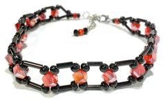 Ankle Bracelet, Black and Red Crystal beaded anklet. Measures 9 inches but extends to 11 inches. by B4Jjewelrydesigns on Etsy