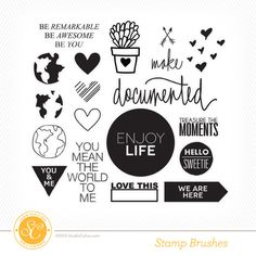 Includes digital versions of the rubber stamp designs in the Project Life kit + add ons.         Select digital brushes include blank cut files sized slightly larger than the stamp design. Blank cuts are in png + svg format.         .abr + .png files included for digital stamps.         For personal use only.