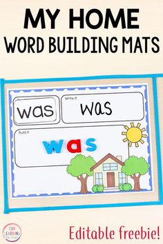 These free editable my home word building mats are perfect literacy centers during an all about me theme or my family theme. Use them for names, word work, sight words, spelling words and more! Spelling Activities, Printable Activities For Kids, Sight Word Activities, Literacy Activities, Literacy Centers, Preschool Names, Preschool Alphabet, Listening Activities, Homeschooling Resources