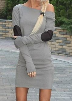 Sexy Long Sleeve Mini Straight Dress (3 Colors) on Luulla