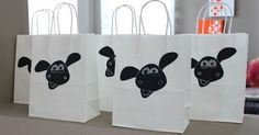 timmy time / shaun the sheep puppets out of white paper bags
