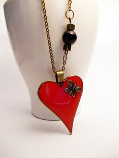 Bronze necklace Valentine's Day necklace by PauwowHandmade on Etsy