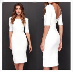 eb161562e07 Pure Color Zipper Backless Half Sleeve Knee-length Dress