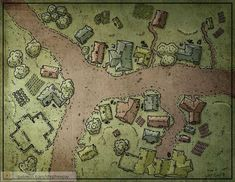 Urban Hamlet Farmland roads nw-s-e med Fantasy City Map, Fantasy Village, Fantasy Town, Fantasy World Map, Dungeons And Dragons Game, Dungeons And Dragons Homebrew, Village Map, Rpg Map, Dungeon Maps