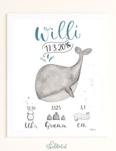 """Birth picture """"Willi Wal"""" - * Are you looking for a present for a christening or birth? Then you can certainly give pleasure wi - Elephant Baby Showers, Baby Elephant, Art Minecraft, Birth Pictures, Kit Bebe, Baby Posters, Baby Frame, Wallpaper Aesthetic, Illustration"""