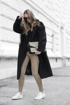 Suede | NA-KD Black Teddy Coat / H&M Suede Pants (linked to shop) / Gucci Dionysus Bag / Céline Sunnies / Common Projects Sneakers IG: @hauteatheart | *affiliate link Suede Pants, Common Projects, Teddy Coat, Leggings, Dionysus, Celine, Sunnies, Taupe, Personal Style