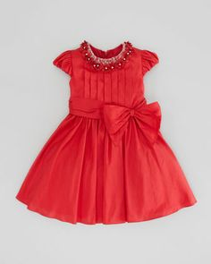Rosette-Collar Silk Dress, Red, Sizes 2-6Y by David Charles at Neiman Marcus.