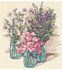 Use the Dimensions Wildflower Trio Counted Cross Stitch Kit to infuse your home interiors with floral bliss. Featuring heather, sweet peas and daisies, bunched in vintage canning jars, this cross stit