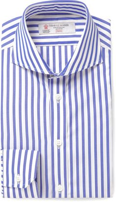 Turnbull & Asser Blue Slim-Fit Cutaway-Collar Striped Cotton Shirt sur shopstyle.fr