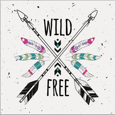 Illustration of Vector grunge illustration with crossed ethnic arrows, feathers and tribal ornament. Boho and hippie style. Wild and Free poster. vector art, clipart and stock vectors. Grunge, Hippie Style, Zentangle, Bohemian Decor, Boho, Feather Illustration, Arrow Feather, Indian Patterns, Wild And Free