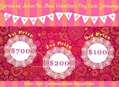 Enter to win $1000 from Garden of Arden HERE! http://gardenofarden1.blogspot.com/2014/02/garden-of-arden-be-mine-valentines-day.html