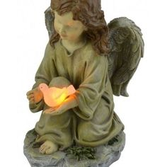 Angel Solar Powered Glowing Dove White Led Batteries Included New