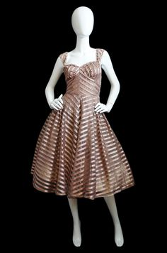 Love the bands of ribbon on this dress. So gorgeous! 1950s Blush Silk Ribbon