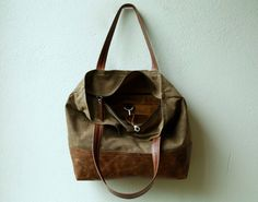 waxed canvas zippered tote PROPER TOTE by roughandtumblebags