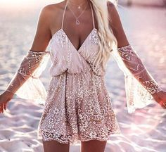 Shimmer & Shine Open-Shoulder Apricot Romper