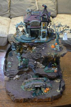 halloween village display This unique Halloween village display piece was so fun to make and fun to decorate with my Department 56 Halloween village pieces. It is being auctio Halloween Village Display, Christmas Village Houses, Christmas Villages, Village Miniature, Miniature Houses, Lemax Village, Fairy Village, Halloween Miniatures, Halloween House