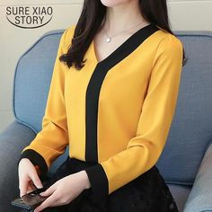 2018 fashion chiffon office lady shirt women blouse long sleeve V-neck women tops patchwork women's clothing shirts Tops 30 - Bluse Blouse Styles, Blouse Designs, Yellow Blouse, Yellow Top, Office Ladies, Long Blouse, Work Attire, Chiffon Tops, Chiffon Shirt