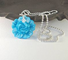 Blue flower necklace with Swarovski crystal, by romanticcrafts
