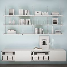 """IKEA EKBY JARPEN GALLO over KALLAX Storage """"bench"""" on casters. perfect for seating and playing and jumping etc. put ranarp lights on shelf etc etc Wall Shelving Units, Wall Shelves, Shelf, Ikea Home Office, Ikea Ekby, Hacks Ikea, Piano Room, Open Space Living, Interior Decorating"""