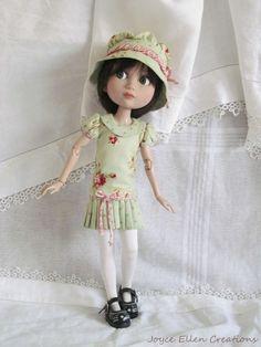 "Patience Tonner 14"" BJD fashion green & rose dress set OOAK by JEC #DollClothingAccessories"