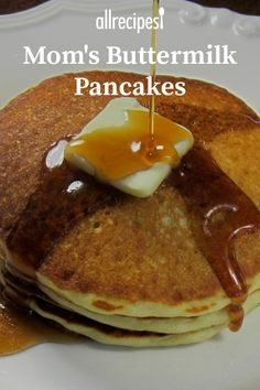 These light and fluffy pancakes go great with berry syrups. The Breakfast Club, Breakfast Ideas, Breakfast Recipes, Casserole Recipes, Bread Recipes, Old Fashioned Pancake Recipe, Light And Fluffy Pancakes, Buttermilk Pancakes, Breakfast Casserole