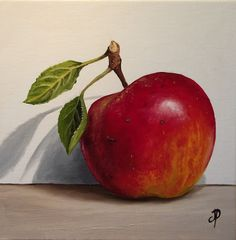 """""""Red Falstaff Apple"""" - by Jane Palmer. Apple Painting, Fruit Painting, Still Life Drawing, Painting Still Life, Fruit Photography, Still Life Photography, Fruits Drawing, Apple Art, Still Life Fruit"""