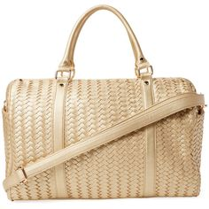 Deux Lux Women's Sullivan Woven Vegan Leather Weekender - Gold ($99) ❤ liked on Polyvore featuring bags and luggage