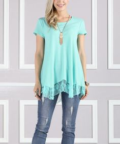 Look what I found on #zulily! Mint Lace-Hem Swing Top - Plus Too #zulilyfinds