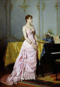 Portrait of Rose Caron 1886 by Auguste Toulmouche as fine art print. Stretched on canvas or printed as photo. Pink Evening Dress, Evening Dresses, Oil On Canvas, Canvas Prints, Rose Corsage, Paris Ville, Reproduction, Painting Frames, Gifts In A Mug