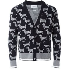 Thom Browne dog print cardigan ($1,328) ❤ liked on Polyvore featuring men's fashion, men's clothing, men's sweaters, blue, mens blue sweater and mens cardigan sweaters