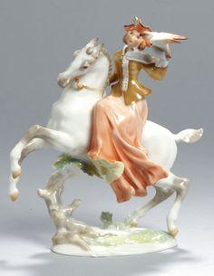 "Lot 1662 - Porzellan-Figur, ""Falknerin zu Pferde"", Lorenz Hutschenreuther, Kunstabteilung Selb, um1970-85, Kitsch, Mythology, Baby Dolls, Disney Characters, Fictional Characters, Sculptures, Auction, Art Deco, Porcelain"