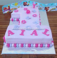 Coolest Number 1 Girl Birthday Cake: I made this Number 1 Girl Birthday Cake for my daughter. It was the first cake that I made and decorated and I got my ideas from this site and others on