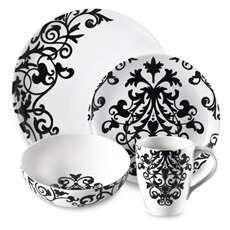 black white 16 piece dinnerware set modern decor contemporary kitc virtual disney villains. Black Bedroom Furniture Sets. Home Design Ideas
