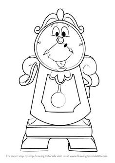 How to Draw Cogsworth from Beauty and the Beast - DrawingTutorials101.com
