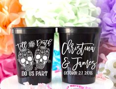 Til Death Do Us Part Stadium Cups - Custom designed and printed, personalized 16 oz. plastic stadium cups help you Celebrate Happy even before your event starts. Perfect for any wedding or event!  - Yippee Daisy  #partycups #weddingdecor #bacheloretteparty