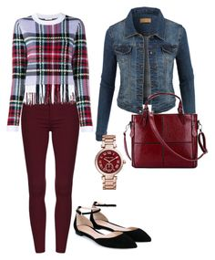 """""""More Red with Plaid"""" by mymyhearts on Polyvore featuring LE3NO, Chloé, Gianvito Rossi and Michael Kors"""