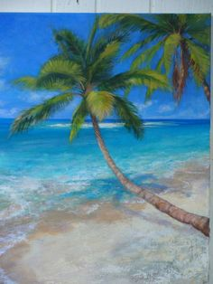 paintings of trees   ... Kennedy – palm trees, acrylic painting detail   Weekly Art Lesson