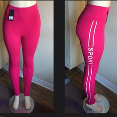 "Sports Yoga Leggings SALE92%polyester and 8% spandex . LEG WEAR ""Sports"" Yoga Leggings✅Pls ask for separate listing thank you✅Color:Pink  Comfortable Stretchy Fit For The Perfect Workouts Brand New With Tags  Subtle Control That Smooths Tummy, Hips And Thighs    One Size (Fits Most) (S, M, L)⛔️️️price is firm was $18 Pants Leggings"