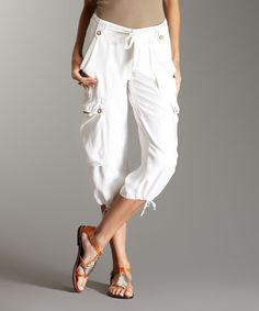 Look what I found on #zulily! Creme Tie-Waist Silk Crop Cargo Pants #zulilyfinds