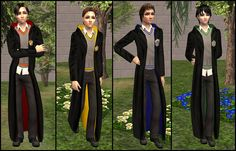 Mod The Sims - Hogwarts uniforms for teenage boys - robes Harry Potter Uniform, Harry Potter Robes, Hogwarts Uniform, Theme Harry Potter, Hogwarts Costume, Boys Sleepwear, Halloween Costumes For Teens, Sims 4 Clothing, The Sims4