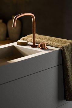 Rustic Dark Bathroom Design Piet Boon Raw Copper Taps And