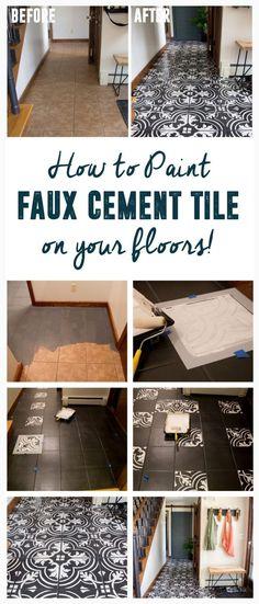 DIY Faux Cement Tile, How to Paint Tile, DIY Faux Cement Tile Floors www.BrightGreenDoor.com