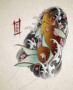 Japanese Demon Tattoo, Japanese Koi Fish Tattoo, Japanese Tattoo Designs, Japanese Sleeve Tattoos, Pez Koi Tattoo, Koi Tattoo Sleeve, Kio Fish Tattoo, Koi Tattoo Design, Japan Tattoo Design