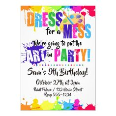 Shop Art / Paint / Craft Birthday Party Invitations created by StorybookDesigns. Fun Craft, Craft Party, Craft Shop, Kids Paint Party, Craft Birthday Party, Painting Party Kids, Artist Birthday Party, Craft Kids, Painting Art